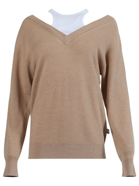 Bi-layer knit sweater, Tobacco Melange