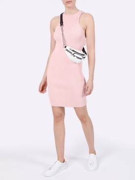 Pink ribbed tank dress