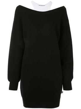 BI-LAYER KNIT JUMPER DRESS BLACK