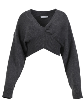 V-Neck pullover knit top with front twist