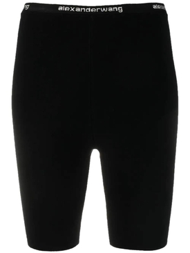 LOGO TRIM BODYCON BIKE SHORT, BLACK