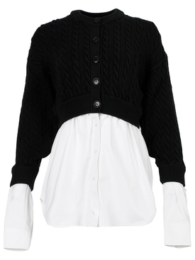 cotton oxford and wool cable hybrid top Black and White