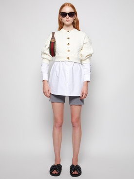 cotton oxford and wool cable hybrid top Ivory and White