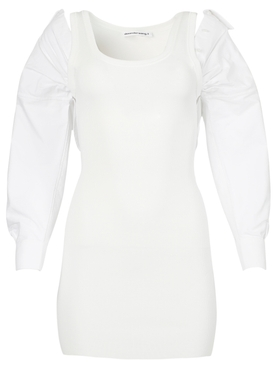 cotton rib and oxford hybrid dress