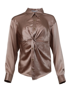 Knotted button-down blouse ROSE BEIGE