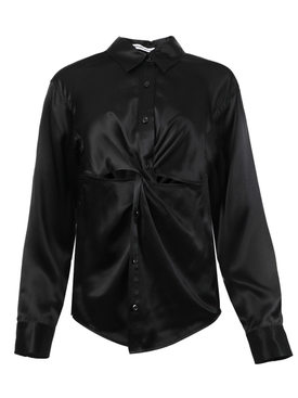 Knotted button-down blouse BLACK