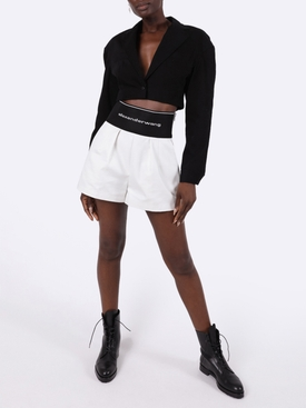 Black denim cropped blazer