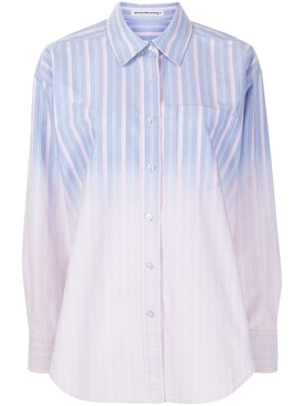 Striped ombre button down shirt, oxford blue