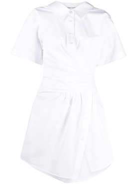 Gathered Short Sleeve Button Down Dress
