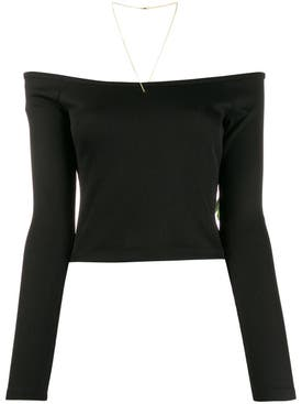 Alexanderwang.t - Black Off-shoulder Crop Top - Women