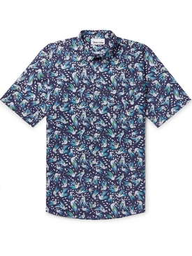 Bird print short sleeve shirt BLUE