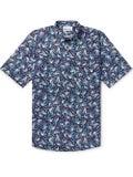 Thorsun - Bird Print Short Sleeve Shirt Blue - Men