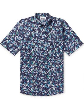 Thorsun - Bird Print Short Sleeve Shirt Blue - Men