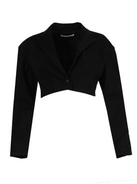 Black denim cropped blazer
