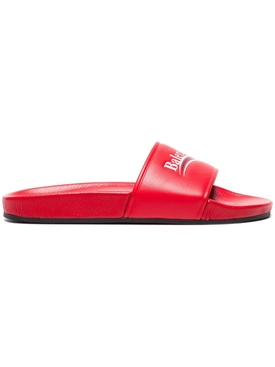 Contrasting Logo Slide Sandals RED