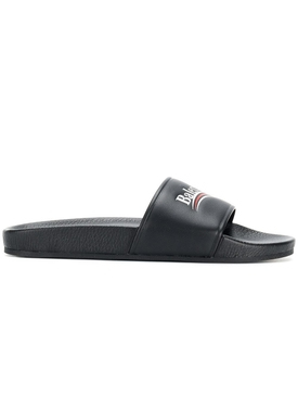 Contrasting Logo Slide Sandals BLACK