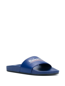 Contrasting Logo Slide Sandals BLUE