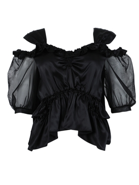 Black skeleton puff sleeve blouse