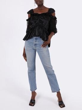 Black skeleton puff sleeve blouse
