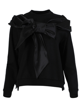 Black silk bow sweater