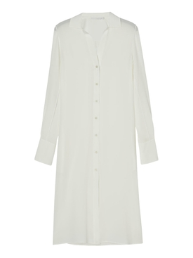 Cream Silk Flow Shirt Dress