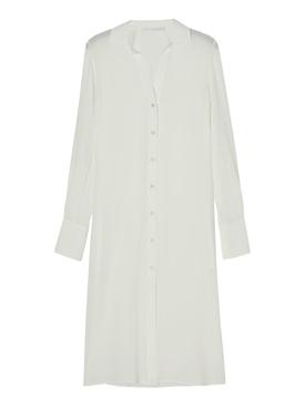 Cream Silk Flow Shirt Dress