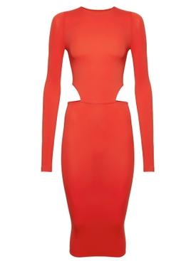 X Amina Muaddi Cutout Midi Dress Star Ruby Red