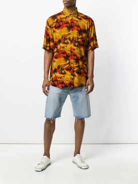 Orange Palm Print Shirt