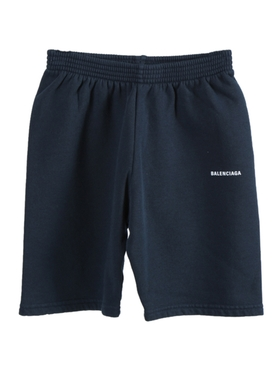 Kids Navy Logo Cotton Shorts