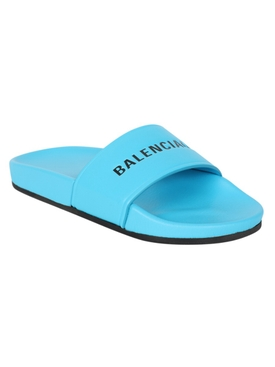 Blue and White Logo Slides