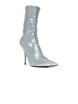 Sequined Knife Booties SILVER