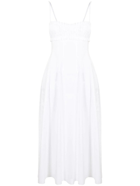 FELICIA FRILL-TRIM MIDI DRESS, WHITE