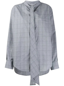 Over-sized check print blouse