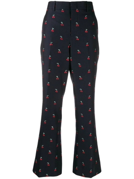cherry fil coupé bootcut trousers