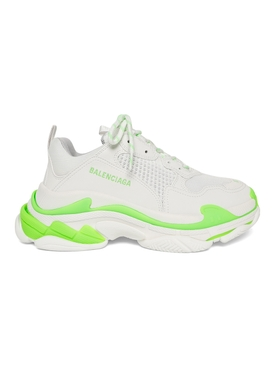 TRIPLE S SNEAKER, WHITE AND NEON GREEN