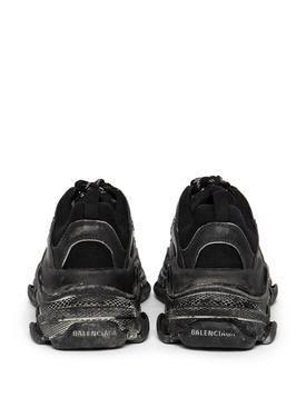 Distressed Triple S Faded Sneaker Black