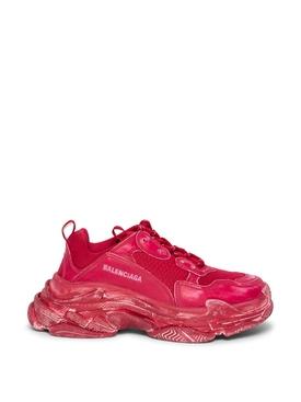 Distressed Triple S Faded Sneaker Dark Red