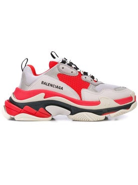 Balenciaga - Red And Grey Triple S Sneaker - Men