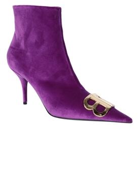 Purple BB Logo Ankle Boots