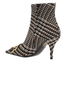 Houndstooth ankle boots