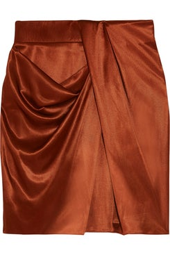 Atlein - Draped Metallic Satin Mini Skirt - Women