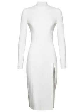 X Amina Muaddi Midi Turtleneck Slit Dress White