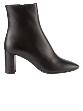 Lou Leather Block-Heel Booties Black