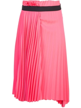 asymmetric belted pleated skirt