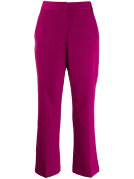 purple wool cropped trousers