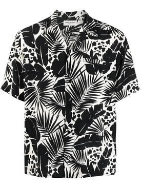 Silk Leaf Print Short-sleeve Shirt