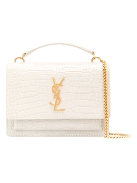 YSL White Croc Sunset Monogram Bag