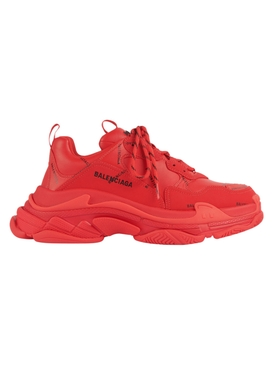 Triple S Logo Print Sneakers RED