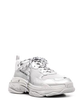 Silver Metallic Triple S Sneakers