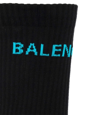 logo knit socks BLACK SKY BLUE